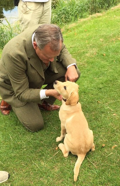 Maggie with Hugh Bonneville at Downton Abbey